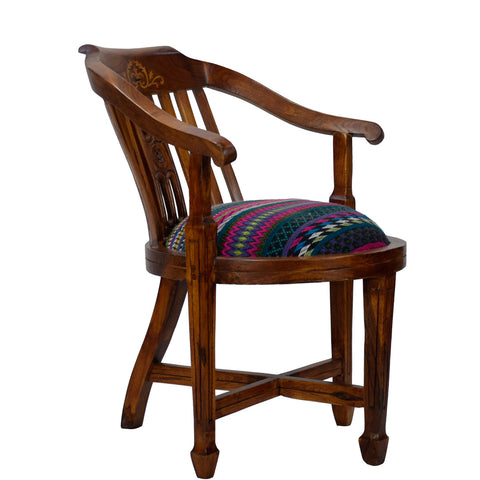Daintree Lounge Cafetaria Jacquard Fabric Accent Design Patio Chair Solid Sheesham Wood Legs