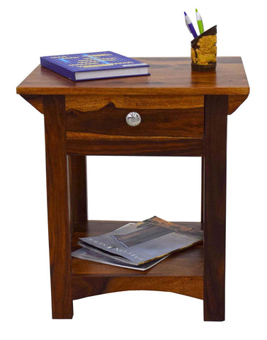 TimberTaste COOPER Solid Wood End Table in Natural Teek And Dark Walnut Finish, corner table, end table, accent table, solid wood table, telephone table, fish tank stand, wooden table, sofa table, bedside table,Teek Finish.