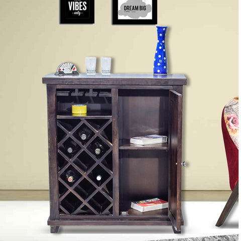 Daintree Sheesham Wood Bar Cabinet Wine Rack (Dark Walnut Finish).