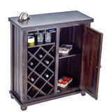 TimberTaste Sheesham Wood Bar Cabinet Wine Rack (Dark Walnut Finish).