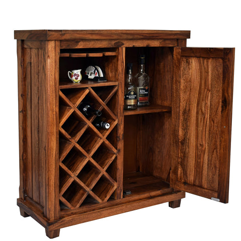Daintree Sheesham Wood Bar Cabinet Wine Rack (Natural Teak Finish).
