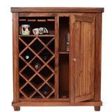 TimberTaste Sheesham Wood Bar Cabinet Wine Rack (Natural Teak Finish).