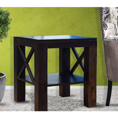 TimberTaste Sheesham Wood CROSS Side Table Dark Walnut Finish