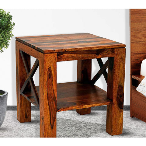 Daintree Sheesham Wood CROSS Side Table Natural Teak Finish