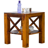 TimberTaste Sheesham Wood CROSS Side Table Natural Teak Finish
