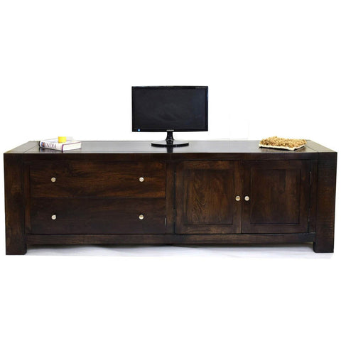 TimberTaste Solid Wood CUBA TV Cabinet Dark Walnut Finish.