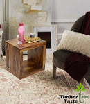 TimberTaste Sheesham Wood CUBO Side End Table Cube Style Natural Teak Finish