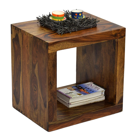 Daintree Sheesham Wood CUBO Side End Table Cube Style Natural Teak Finish