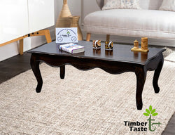 TimberTaste Sheesham Solid Wood CURVO Dark Walnut Finish Coffee Center Table Teapoy