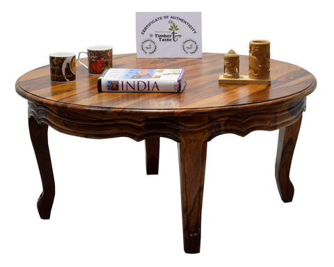 TimberTaste Sheesham Solid Wood CURVO Round Carving Natural Teak Finish Coffee Center Table Teapoy