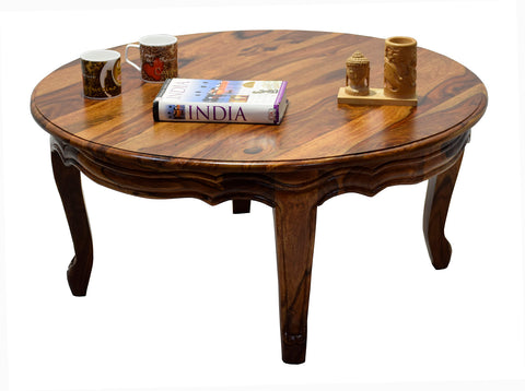 Timbertaste Sheesham Solid Wood CURVO Round Natural Teak Finish Coffee Center Table Teapoy, Sheesham wood coffee table, rosewood, center table, solid wood table, teapoy, fish tank stand Teak Finish