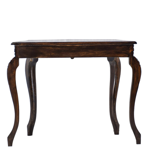 TimberTaste Veneer Top Teak Wood 1 Drawer CURVO Console Hall Table (Dark Walnut Finish) suitable for living room.