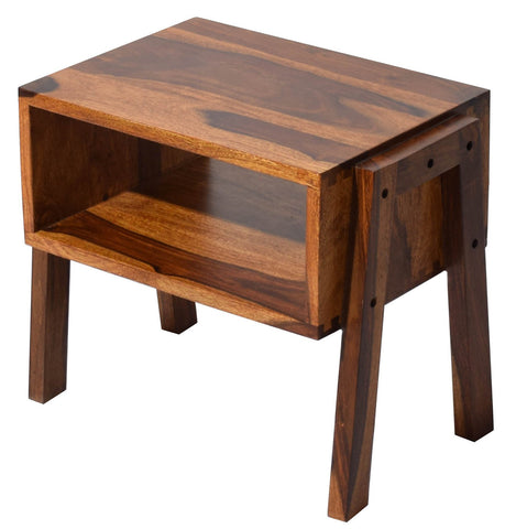 TimberTaste Decker Solid Wood Stack able End Table in Dark Walnut Finish with Front and Back Open Storage, Set of 2 , corner table, end table, accent table, solid wood table, telephone table, fish tank stand, wooden table, sofa table, bedside table,Teek Finish.