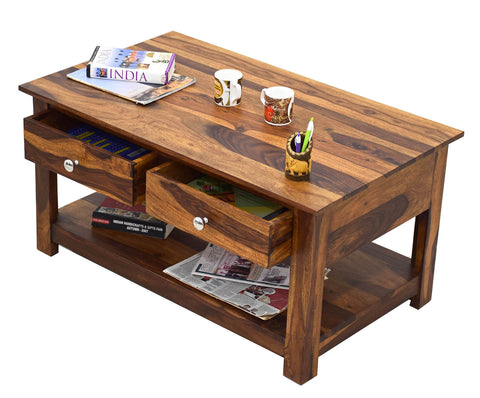 Timbertaste Sheesham Solid Wood 2 Draw DENSON Natural Teak Finish Coffee Table Center Table Teapoy