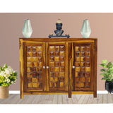 TimberTaste Sheesham Wood 3 door Diamond side board (Dark Walnut Finish and Natural teak finish).