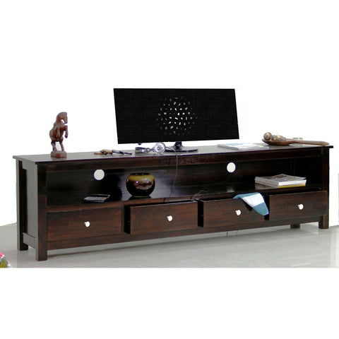 TimberTaste Solid Sheesham (Rosewood) Wood DOLLY 4 Draw TV Cabinet (Dark Walnut Finish)