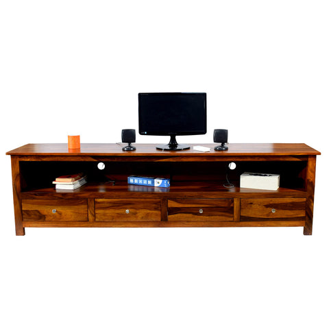 TimberTaste Solid Sheesham (Rosewood) Wood DOLLY 4 Draw TV Cabinet (Natural Teak Finish)
