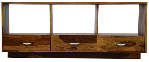 TimberTaste Sheesham Wood DORIMON 3 Draw TV Unit Cabinet Entertainment Stand, Daintree, Wooden, Fish tank stand, Solid wood