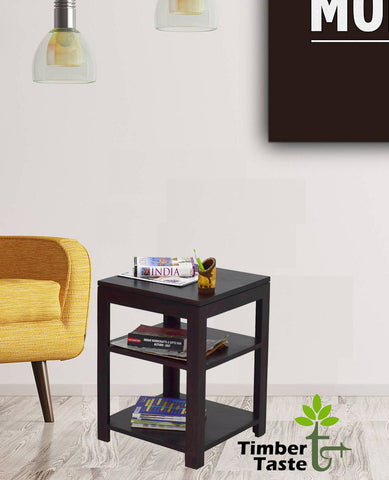 Timbertaste Sheesham Solid Wood Dublin Dark Walnut Finish Side Table End Corner Table