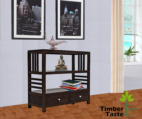 TimberTaste Sheesham Wood EVA book shelf show case (Dark Walnut Finish).