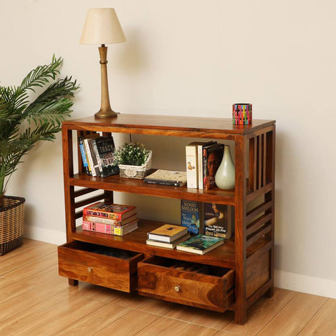 Daintree Sheesham Wood EVA book shelf show case (Natural Teak finish).