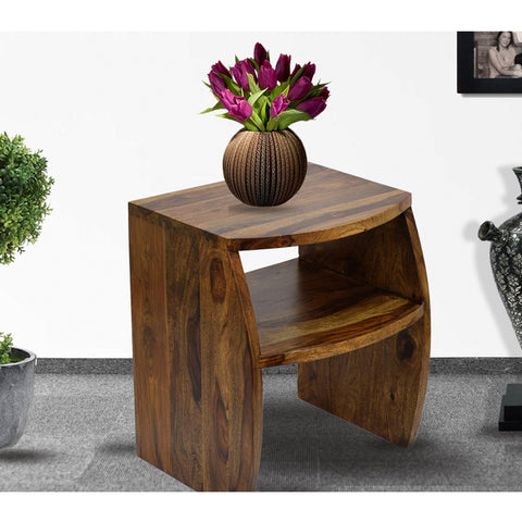 Daintree Sheesham Wood FANTA Side End Corner Table Natural Teak Finish