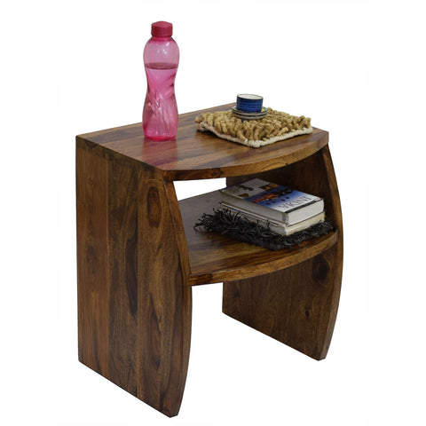 TimberTaste Sheesham Wood FANTA Side End Corner Table Natural Teak Finish