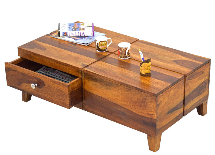 Timbertaste Sheesham Solid Wood FARGO Round Natural Teak Finish Coffee Center Table Teapoy, Sheesham wood coffee table, rosewood, center table, solid wood table, teapoy, fish tank stand Teak Finish
