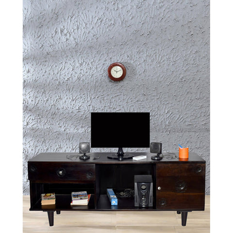 Daintree FLORA Solid Wood TV Entertainment Unit  (Finish Color - Dark Walnut)
