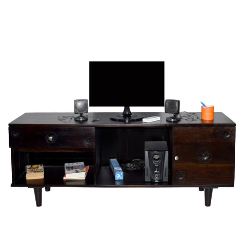 TimberTaste Sheesham Wood FLORA 1.4 Meter 1 Door 1 Draw TV Unit Cabinet Entertainment Stand (Dark Walnut Wood Finish)