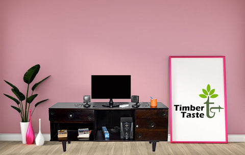 TimberTaste FLORA Solid Wood TV Entertainment Unit  (Finish Color - Dark Walnut)
