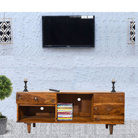 TimberTaste Sheesham Wood FLORA 1.4 Meter 1 Door 1 Draw TV Unit Cabinet Entertainment Stand (Natural teak Wood Finish)