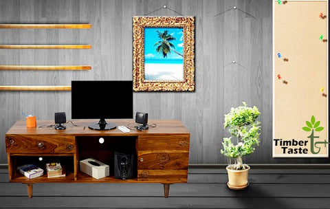 TimberTaste Sheesham Wood FLORA 1.4 Meter 1 Door 1 Draw TV Unit (Natural teak)