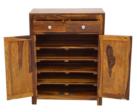 Timbertaste Sheesham Solid Wood Footy Natural Teak Finish Shoe Rack Shoe Cabinet Shoe Storage
