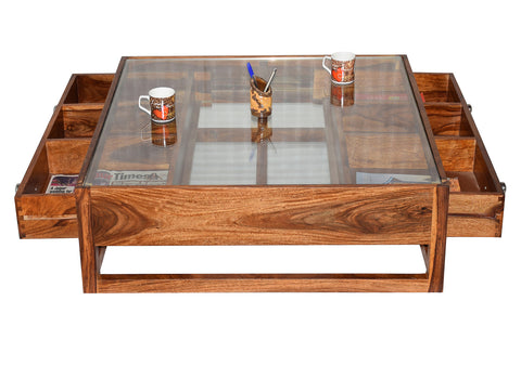 Timbertaste Sheesham Solid Wood G4DRAW Natural Teak Finish Coffee Center Table Teapoy, Sheesham wood coffee table, rosewood, center table, solid wood table, teapoy, fish tank stand Teak Finish