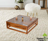 Timbertaste Sheesham Solid Wood with Glass Top G4DRAW Natural Teak Finish Coffee Corner Table Teapoy
