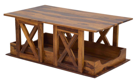 Timbertaste Sheesham Solid Wood HAWADA Natural Teak Finish Coffee Center Table Teapoy, Sheesham wood coffee table, rosewood, center table, solid wood table, teapoy, fish tank stand Teak Finish