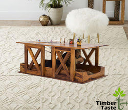 Timbertaste Sheesham Solid Wood HAWADA Natural Teak Finish Coffee Center Table Teapoy