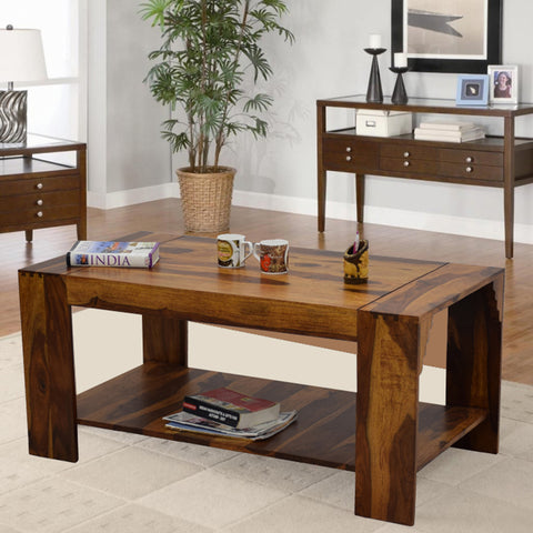 Timbertaste Sheesham Solid Wood Himani Natural Teak Finish Coffee Center Table Teapoy, Sheesham wood coffee table, rosewood, center table, solid wood table, teapoy, fish tank stand Teak Finish