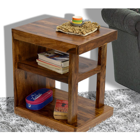 Daintree Sheesham Wood NEELU Side End Accent Corner Table  Natural Teak Finish