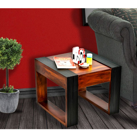 Daintree Sheesham Wood NOVA Dual Color Side Table Teak top Walnut frame