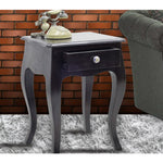 TimberTaste Solid Wood 1 Draw LOPAZ Side End Corner Table Dark Walnut Finish