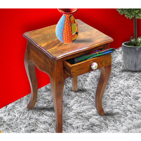 TimberTaste Solid Wood 1 Draw LOPAZ Side End Corner Table Natural Teak Finish