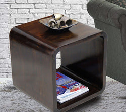 TimberTaste Sheesham Wood LOBO Side End Table Dark Walnut Finish