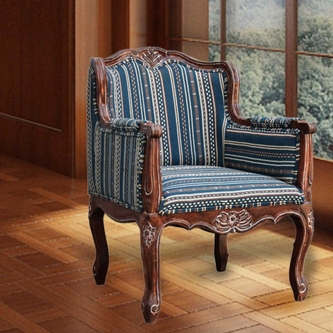 Daintree Lounge Cafetaria Handloom Fabric Accent Patio Chair Solid Rustic Walnut Finish Frame