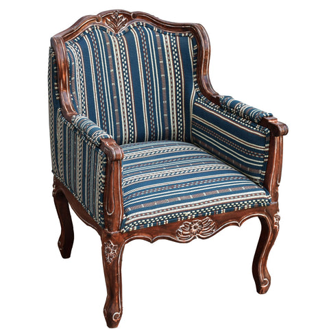 TimberTaste Lounge Cafetaria Handloom Fabric Accent Patio Chair Solid Rustic Walnut Finish Frame