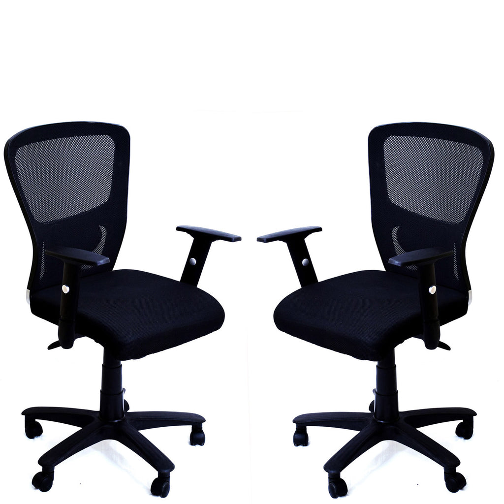 TimberTaste Pair of JOHNY Adjustable Lumber Back Support & Adjustable Handles Office Executive Chair Computer Task Revolving Conference Visitor Chair (Set of 2).