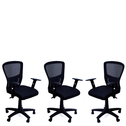 TimberTaste 3 Pieces JOHNY Adjustable Lumber Back Support & Adjustable Handles Office Executive Chair Computer Task Revolving Conference Visitor Chair (Set of 3).