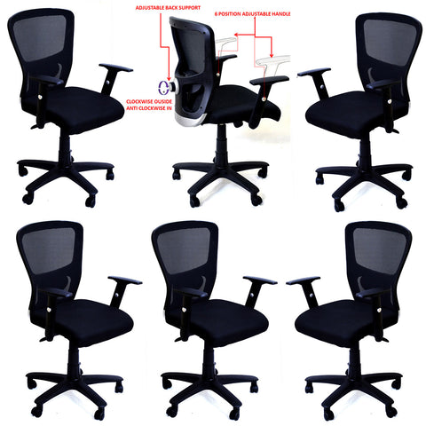 TimberTaste 6 Pieces JOHNY Adjustable Lumber Back Support & Adjustable Handles Office Executive Chair Computer Task Revolving Conference Visitor Chair (Set of 6).