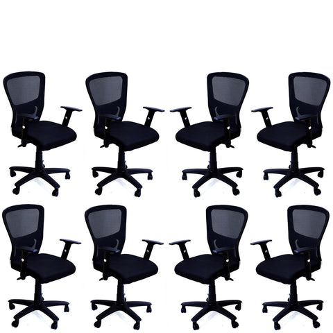 TimberTaste 8 Pieces JOHNY Adjustable Lumber Back Support & Adjustable Handles Office Executive Chair Computer Task Revolving Conference Visitor Chair (Set of 8).